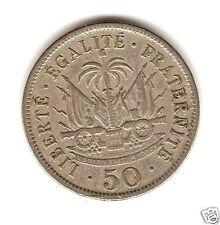 1908 HAITI COIN 50 Centimes