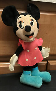 """Vintage 1960's Walt Disney Productions Minnie Mouse Plush 9.5"""" Made In Japan"""
