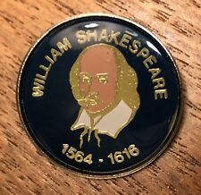 William Shakespeare 1564-1616 Blue Lapel Hat Pin Pinback ~ Travel Souvenir~UK