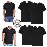 Black 3-6 Packs Men 100% Thick Cotton Crew-Neck V-Neck T-Shirt Casual Tee S-4XL