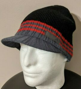 Adidas Knit Climawarm Beanie Jeep Cap Hat Black/Red/Gray Adult