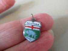 Plated Manitoba Canada Shield Fob Charm Vintage Reu German Enamel Epns Silver