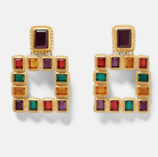 Statement Crystal Gemstone Bold Earrings. Gold Plated Fashion Zara Drop Studs