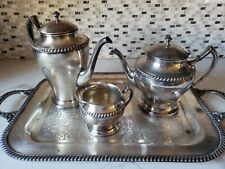 Crescent Queen Anne 3 piece with tray Silver Serving Set, England