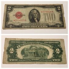 VINTAGE $2 STAR 1928-G UNITED STATES NOTE RED SEAL JEFFERSON TWO DOLLAR BILL USN