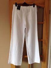 M&S Ladies White Linen Trousers.  Easy Iron Wide Leg