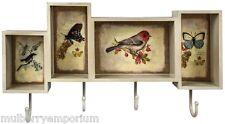 Cream Wood Shabby Chic Shelving Unit & Key Hooks Bird Butterfly Design Home Deco