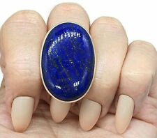 Massive Lapis Lazuli Ring, Size 10, Sterling Silver, Oval Shape, Protection