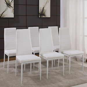 6 Dining Chairs White Faux Leather Padded Seat Kitchen Living Room Furniture