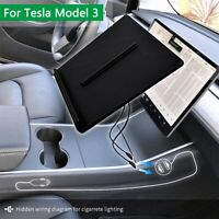 Dual Qi Wireless Phone Charger Holder W/ USB 2.0 Cable Storage For Tesla Model 3