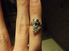 "Diamond Aquamarine Sapphire Blue Ring cluster 3.60g white gold ""14K"" s 5 vintage"