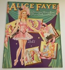 Alice Faye Glamorous Movie Star Paper Dolls and Costumes Book Reproduction
