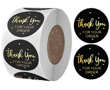 Thank You For Your Order Stickers Professional Business Labels Black & Gold 25mm