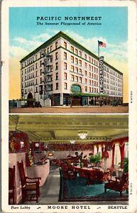 Linen Postcard Pacific Northwest Moore Hotel in Seattle, Washington~135333