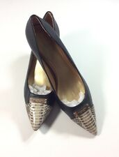 COACH New York Black Leather Cream Reptile Point Toe Pumps Heels Career Shoes 11