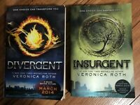 Veronica Roth DIVERGENT & INSURGENT Lot of 2 BOOKS NOVEL, Major Motion Pictures