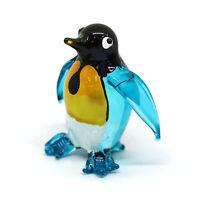 Blue Penguin Figurine Antarctica Aquarium Miniature Hand Blown Glass Blowing