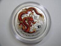 """Australien , 1 Dollar 2012 ST, Lunar II  """" Jahr des Drachen """", Silber + Farbe"""