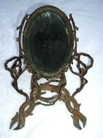 Heavy Antique Black Forest Style Counter Top Shaving Vanity Root Twig Mirror