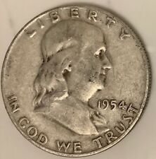 1954- D Benjamin Franklin HALF DOLLAR 90% SILVER 50 CENT USA COIN Denver Mint