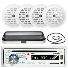 "Bluetooth USB SD AUX Boat Radio, Cover, Antenna, Pyle 5.25"" 100W White Speakers"