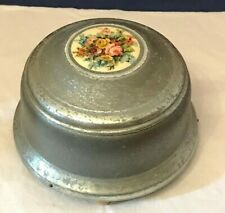 Vintage~ Music ~ Powder ~ Trinket Box ~ Metal~Celluloid Disc Picture ~ Everbrite