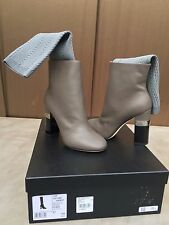 AUTHENTIC Chanel Grey SOCK Ankle,SHORT BOOTS,KANGAROO Leather,7/37,$1550,16K,NEW
