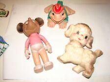 3 vintage Sun Rubber squeak dolls Disney + Other