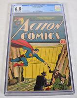 Action Comics 34 DC 1941 CGC 6.0 Superman Dam Worlds Best Comics 1 Ad