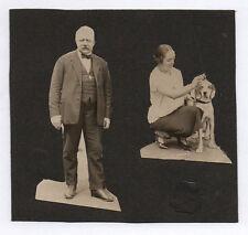 PHOTO ANCIENNE Page album 2 photos découpées à la main ciseaux Portrait 1930