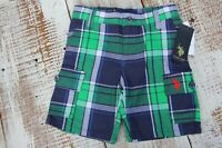 US POLO ASSN Kids NEW Size 2T, 4T Blue Green Plaid Shorts