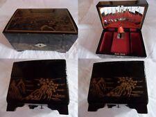 boite à musique danseuse vintage bois laqué