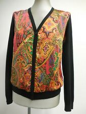 Lauren Ralph Lauren cardigan V neck black knit back multicolour front PL UK16/18