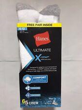 Hanes Ultimate X-Temp® Men's Crew Socks White 6-Pack (Includes 1 Free Bonus)