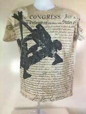 Mens Tee T Shirt ARMY Declaration of Independence American Flag  Tan Medium