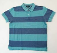 Tommy Hilfiger Slim Fit Poloshirt Polohemd Herren Gr.XL grün gestreift -S969