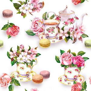 Dollhouse Miniature Tea Time Pink Floral Shabby Chic Wallpaper 1:12 Teapot