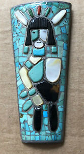 Zuni warrior Sterling Turquoise coral shell bolo bola tie old pawn signed RPB