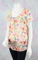 Anthropologie Medium M Skies Are Blue Pink Chiffon Floral Keyhole Blouse Top