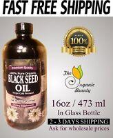 16 fl oz Organic 100% Pure Black Seed Oil Cold Pressed Cumin Nigella Sativa