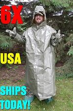 6 HAZMAT SUITS MILITARY ISSUE HURRICANE VOLCANO MONSOON CHEMICAL BIO FAMILY PACK