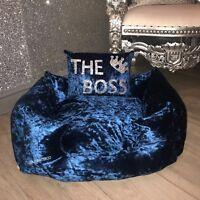 Medium Crushed Velvet Dog Pet Bed - Teal Blue