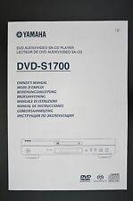 YAMAHA DVD-S1700 Original DVD SA-CD Player Bedienungsanleitung/Owner`s Manual