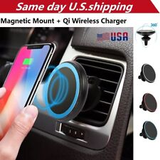 Qi Wireless Car Charger Magnetic Mount Holder For iPhone X/ 8 Samsung S8 Note 8