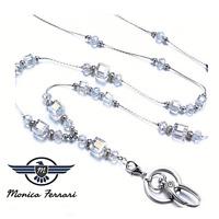 Crystal Gemstone Women's Silver ID Badge Keys Holder Necklace Lanyard Work New