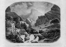 Stampa antica montagna Old Print Val Angoisses Francia Aquitania Aquitaine 1859