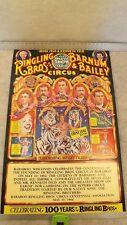 VTG 1984 Ringling Brothers Circus Centennial Poster Baraboo Association MINT