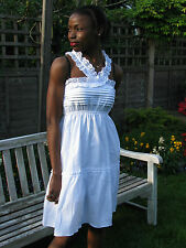 White Cotton Dress Broderie Anglaise Artisan 04. Uk Seller.