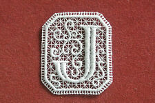 Oblong letter/initial J - sew-on lace motif/applique/patch/craft/card making