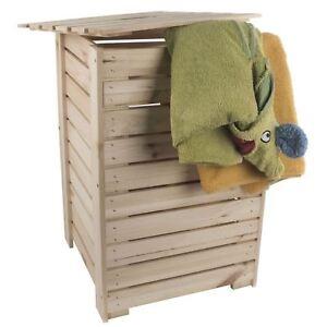 Wooden Laundry Bin Basket / Plain Pine / Unpainted Hamper Bathroom Box With Lid